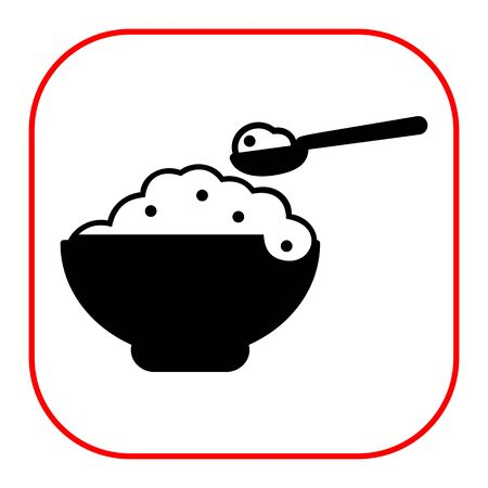 rational: Vector icon of bowl with porridge and spoon