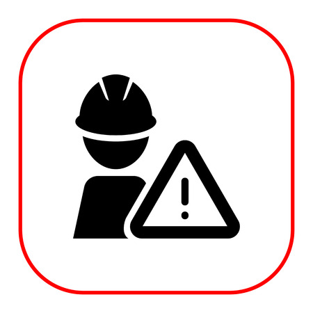 hardhat icon: Icon of man silhouette wearing hardhat and warning sign Illustration