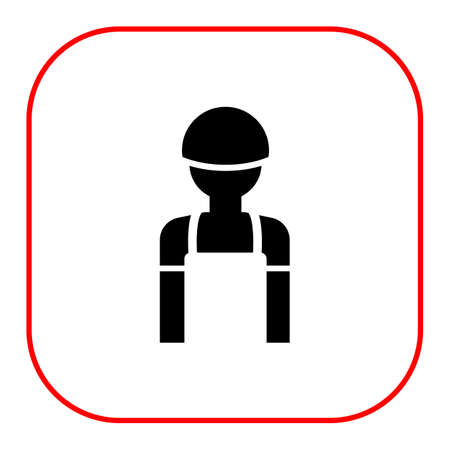 overalls: Icon of man's silhouette wearing overalls and hardhat
