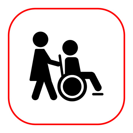 being: Icon of man silhouette in  wheelchair being assisted by nurse Illustration