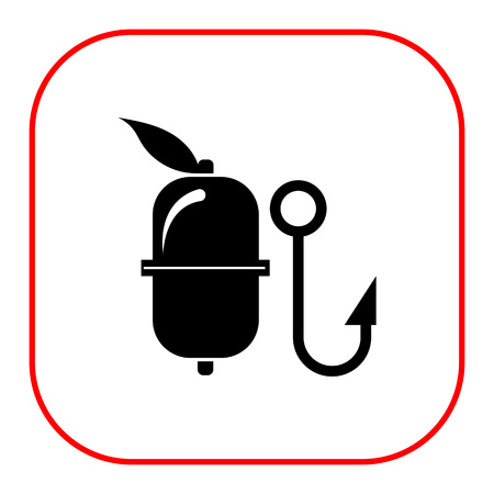 fishery: Vector icon of fishing float and hook