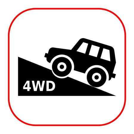 four wheel: Vector icon of four wheel drive car moving up hill Illustration