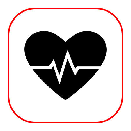 rhythm: Vector icon of heart and electrocardiogram graph