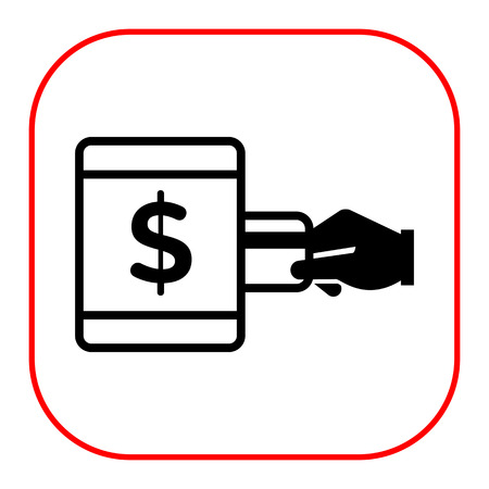 cashless: Vector icon of human hand inserting credit card into ATM with dollar sign