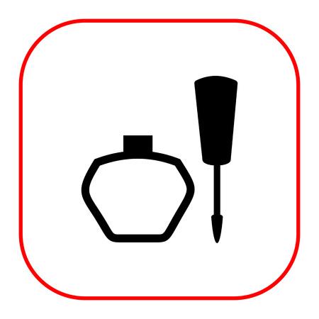 lip gloss: Vector icon of open lip gloss tube and sponge