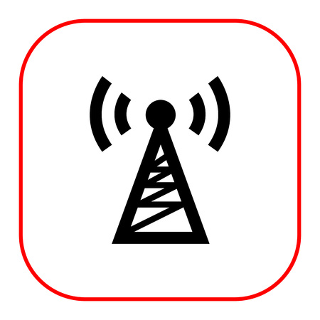 radio tower: Vector icon of radio tower transmitting signal