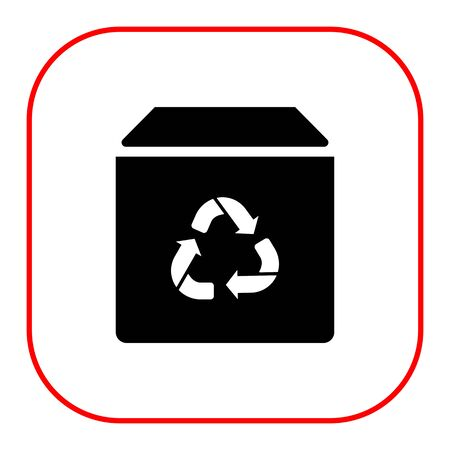 closed box: Icon of closed box with recycling sign Illustration