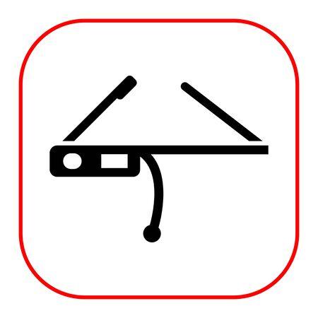 eyewear: Vector icon of black smart glasses silhouette Illustration