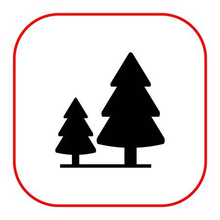 2 つのモミの木と木製看板のベクトルのアイコン 写真素材 - 47968658