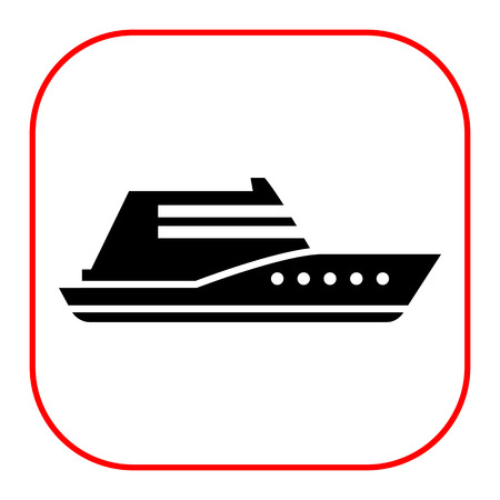 private: Vector icon of swimming private yacht silhouette