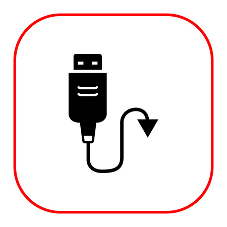 interconnect: Vector icon of USB cable with arrow on one side