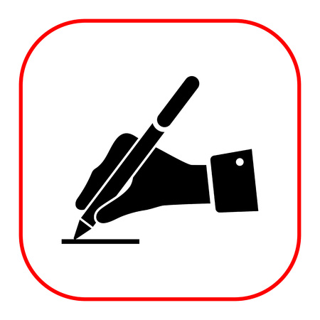 hand writing: Icon of man's hand writing with pen Illustration