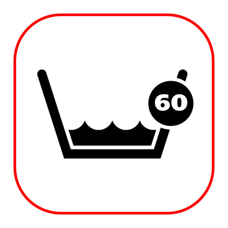 washing clothes: Icon of laundry label Wash at or below 60C sign Stock Photo
