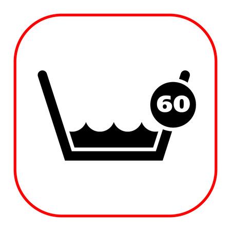 lavando ropa: Icono de la etiqueta de lavado Lavado a 60 ° C o por debajo de la muestra