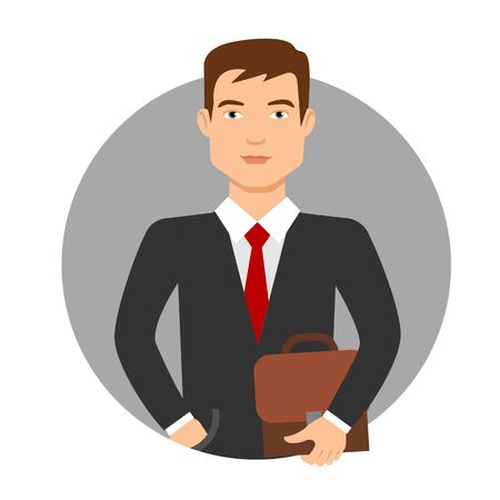 young business man: Male character, portrait of young man in business suit holding briefcase Illustration