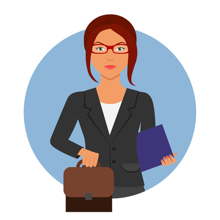 red hair: Female character, portrait of serious businesswoman wearing glasses, holding suitcase and paper folder Illustration