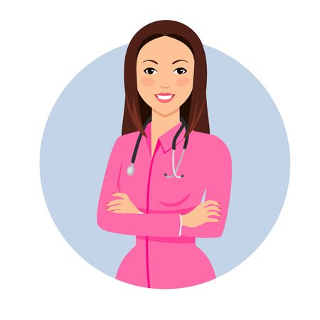 female doctor: Female character, portrait of young female doctor wearing pink medical gown, with stethoscope on her neck Illustration