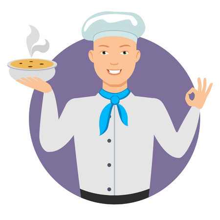 finger cartoon: Male character, portrait of smiling young chef holding bowl with soup, showing okay gesture