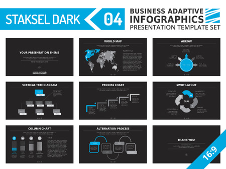graphic presentation: Set of editable multicolored infographic presentation template with graphs and charts on black background