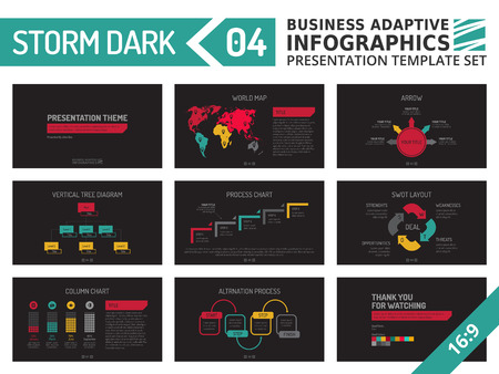 Set of editable multicolored infographic presentation template with graphs and charts on black background