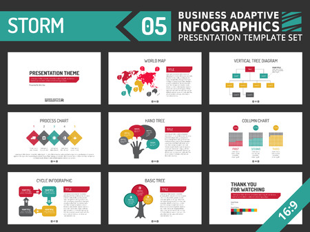 colorful slide: Set of editable multicolored infographic presentation template with graphs and charts on white background