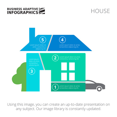 layout design template: Editable infographic template of house diagram divided into five segments with car and tree silhouettes, blue and green version