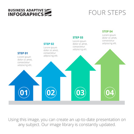 succession: Editable infographic template of process arrow chart with four steps, blue and green version Illustration