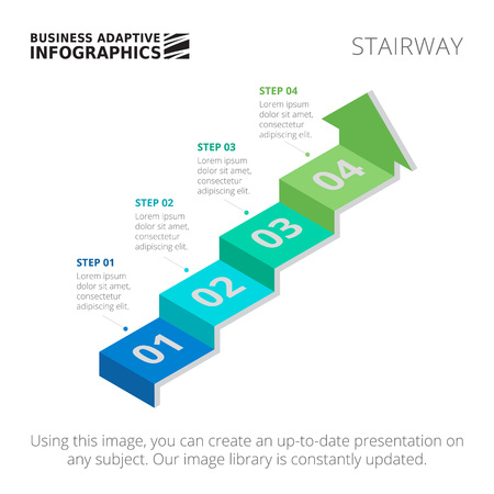 stairway: Editable infographic template of process arrow chart in form of stairway, blue and green version