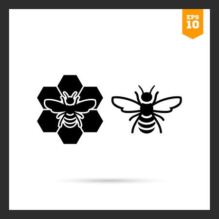 miel de abeja: Icono del vector de abeja y abeja sentado en peine Vectores