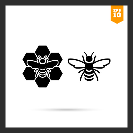 honey comb: Vector icon of bee and bee sitting on comb Illustration