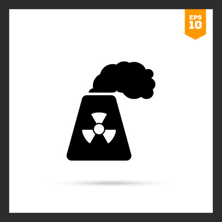 uranium: Icon of atomic power station with radiation sign on pipe