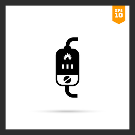 boiler: Vector icon of boiler with switch and heat indication