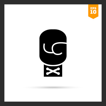 boxing glove: Vector icon of single boxing glove with tied lace