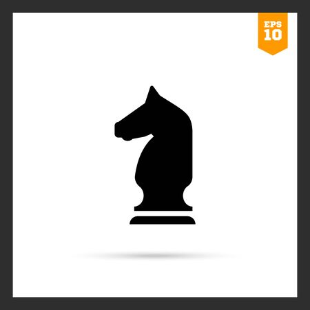 tactic: Vector icon of black chess knight silhouette