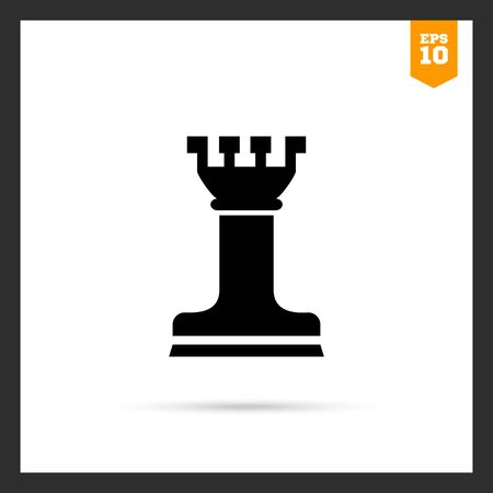chess rook: Vector icon of black chess rook silhouette Illustration