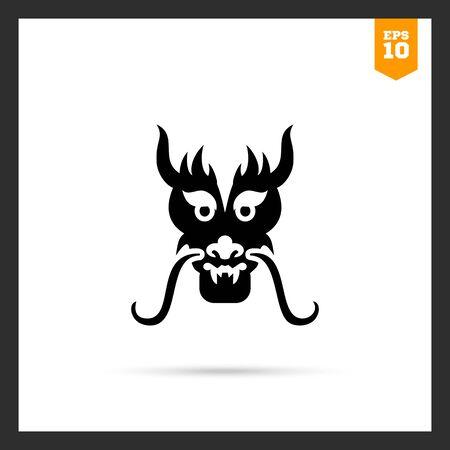 oriental dragon: Vector icon of oriental dragon head silhouette Illustration