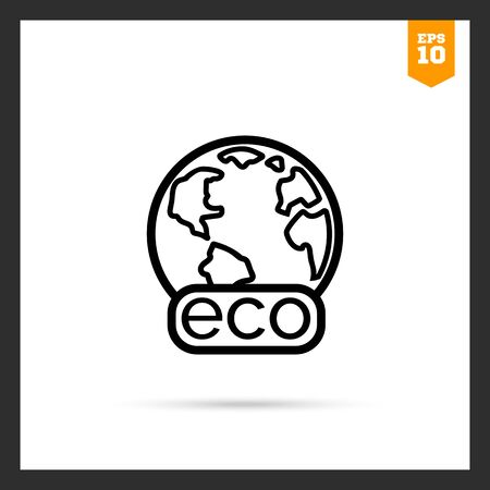 concerns: Icon of Earth globe with Eco banner Illustration