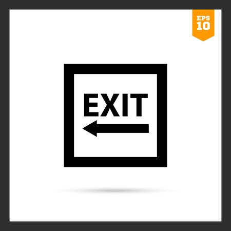emergency exit label: Icon of exit sign with arrow to the left side Illustration