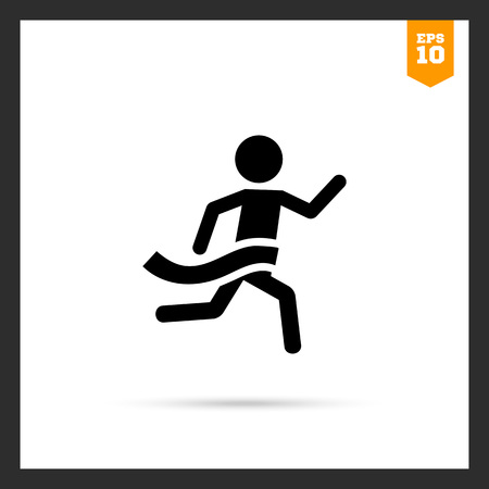 flat line: Icon of running man silhouette crossing finish line