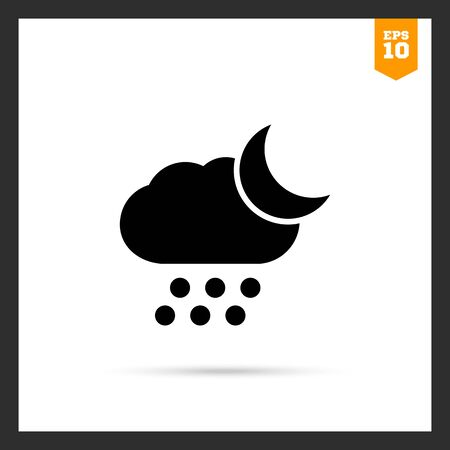 hailstone: Icon of cloud with falling hailstones and crescent moon