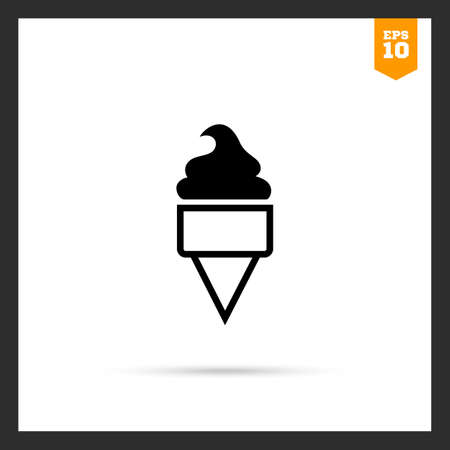 soft ice cream: Vector icon of soft ice cream in waffle cone Illustration