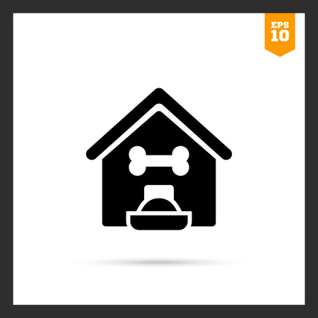 dog kennel: Vector icon of kennel and filled dog bowl Illustration