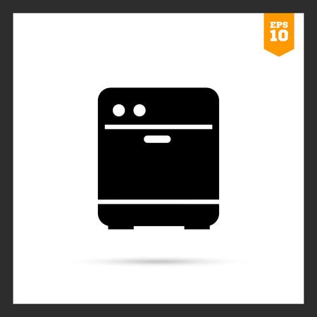 dishwasher: Vector icon of black kitchen dishwasher silhouette