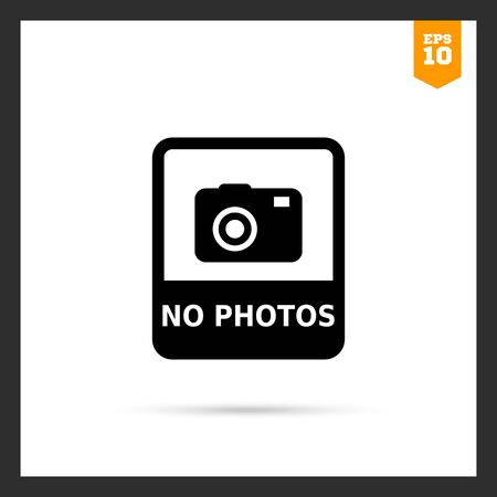 no photo: Vector icon of No photo sign depicting snapshot camera with inscription Illustration