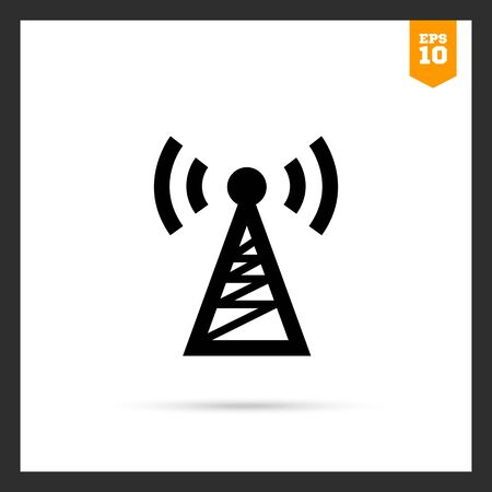 radio tower: Vector icon of radio tower transmitting signal