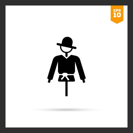 scaring: Vector icon of scarecrow on pole silhouette