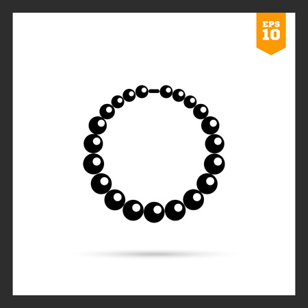 beads: Vector icon of shiny necklace made of beads Illustration