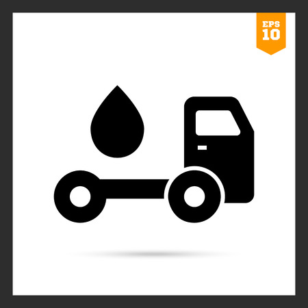 tanker truck: Vector icon of tanker truck with fuel drop
