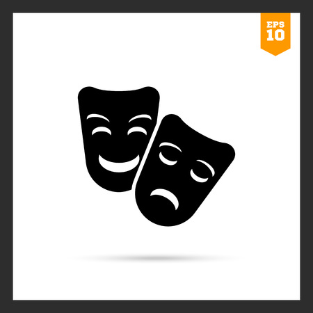 tragedy: Vector icon of comedy and tragedy theater masks