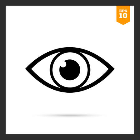 ojo humano: Vector icon of video monitoring represented by open human eye